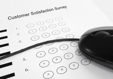 Customer Satisfaction Survey. And computer mouse stock photography