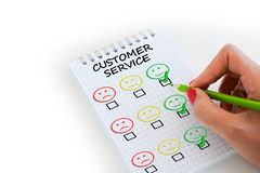 Customer satisfaction survey or questionnaire. With smiley faces as levels of satisfaction Royalty Free Stock Image