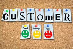 Customer satisfaction survey with smiley faces on wooden cork or panel Stock Photos