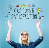 Customer Satisfaction with young woman. Reaching and looking upwards Royalty Free Stock Photo