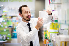 Customer searching for reliable drug Royalty Free Stock Image