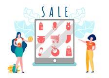 Customer and Seller Cartoon Vector Illustration royalty free illustration