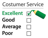 Customer service. Application, ticked the excellent option Stock Photo
