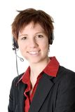 Customer Service. Woman in black jacket with heaset on her head Stock Image