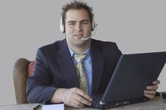 Customer service. Portrait of smiling handsome man Royalty Free Stock Images