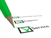 Customer Service. Green pen checks some questions about Service, Support and Customer Service Stock Image