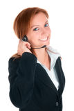 Customer Service. Businesswoman talking isolated on white royalty free stock photo