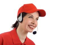 Customer service. Smiling Beautiful Girl in Customer Service Stock Photos