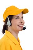 Customer service. Smiling Beautiful Girl in Customer Service Royalty Free Stock Photography