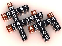 Customer service. Words customer service honest ownership advice and help in a crossword. TCO: total customer ownership model royalty free illustration