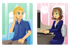 Customer service. A vector illustration of a customer and a customer service representative talking on the phone stock illustration