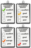 Customer service. Filling out a customer service survey with different outcomes Stock Photo