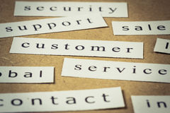 Customer service. Headline, closeup on paper of business keyword Stock Images