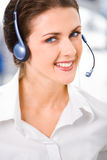 Customer service. Portrait of beautiful customer service representative with wonderful smile Royalty Free Stock Image