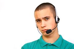 Customer-service. Smiling male customer-service representative Royalty Free Stock Photos