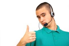 Customer-service. Smiling male customer-service representative Royalty Free Stock Images