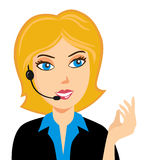 Customer Service. Smiling operator at call center in Vector EPS format Royalty Free Stock Photos
