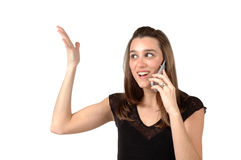 Customer Service. Woman is upset with customer support on her cell phone Royalty Free Stock Image
