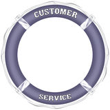 Customer service. Words typed on violet lifesaver with white cord Stock Photography