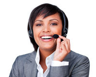 Customer service agent with headset on Royalty Free Stock Photos