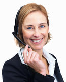 Customer service agent with headset Royalty Free Stock Photo