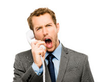 Customer service agent shouting phone white background Stock Images