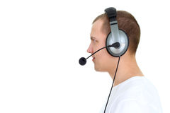 Customer service agent talking on headset Royalty Free Stock Images