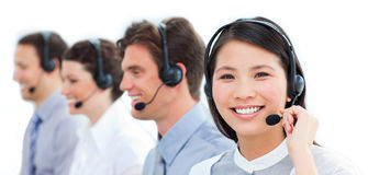 Customer service agents in a call center Royalty Free Stock Photo