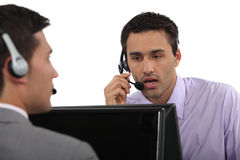 Customer service agents. Problem solving Stock Photos