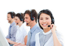 Customer service agents working in a call center Royalty Free Stock Image