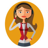 Customer service. Beautiful woman working in a call center vecto Royalty Free Stock Photography