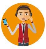 Customer service call center blond man operator on duty  illustration. Eps 10 Stock Photo