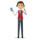 Customer service call center operator on duty .Man customer serv. Ice  illustration Stock Photos