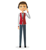 Customer service call center operator on duty .Man customer service  illustration. Customer service call center operator on duty .Man customer service Royalty Free Stock Photography