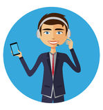 Customer service call center operator on duty .Man customer service  illustration. Customer service call center operator on duty .Man customer service Royalty Free Stock Image