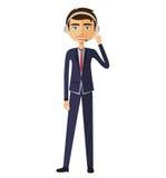 Customer service call center operator on duty .Man customer service  illustration. Royalty Free Stock Photos