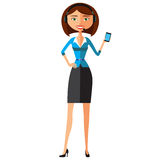Customer Service Call Center Operator On Duty. Woman customer service vector illustration. Royalty Free Stock Image
