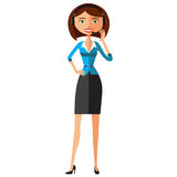 Customer Service Call Center Operator On Duty. Woman customer service vector illustration. Stock Images