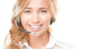 Customer service and call centre operator woman. Stock Photos