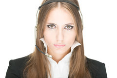 Customer service and call centre operator woman. Royalty Free Stock Photos