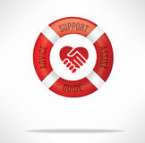 Customer Support. Care and service concept with red life buoy with words advice, support, assist and guide and hand shake with heart shape stock image