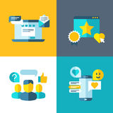 Customer service, client survey, feedback, rating concept background in flat style Royalty Free Stock Photos