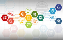 Customer Service Communication Background. With various icons Stock Image