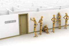Customer Service Concept. A line of customers waiting for customer service Royalty Free Stock Photo