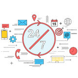 24/7 customer service concept line style illustration Stock Photography
