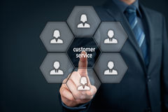 Customer service. Concept. Manager click on virtual  button Royalty Free Stock Photos