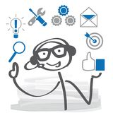 Stick figure,  person with headphones and icons. Customer suppor Royalty Free Stock Photography