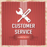 Customer Service Concept on Red in Flat Design. Customer Service with Icon of Crossed Screwdriver and Wrench and Slogan on Red Striped Background. Vintage Royalty Free Stock Photos