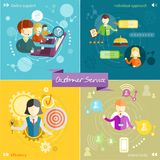 Customer service concept. Customer service representative at computer in headset. Online support. Cartoon phone operator. Individual approach. Support centerand stock illustration