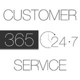 Customer Service 365-7-24. Black on white Stock Images